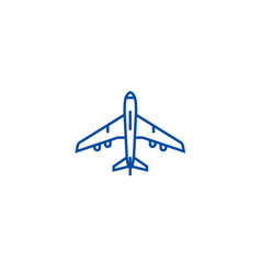 airplane top view line icon concept airplane top vector image