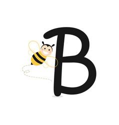 Alphabet b of bee vector