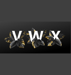 Alphabet letters in black with golden exotic vector