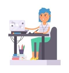 Artist creative girl character vector image