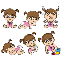 baby girl set in different poses vector image