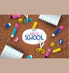 back to school 3d papercut kid supplies wood desk vector image