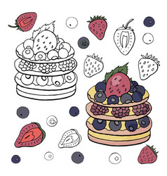 black and white and colored cake with raspberries vector image