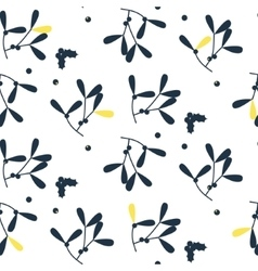 Blue mistletoe silhouette seamless pattern vector