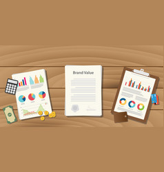 Brand value concept with paperwork document on vector