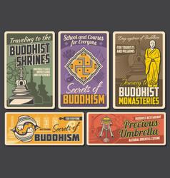 Buddhism religion retro posters sacred symbolic vector