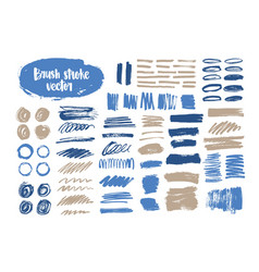 bundle of blue and gray brush strokes paint vector image