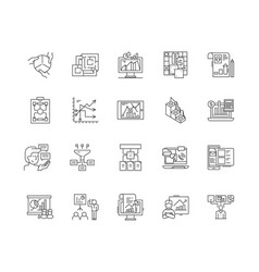 business model line icons signs set vector image