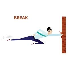 Businessman breaking brick wall vector