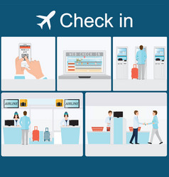 Businessman check-in at the airport vector