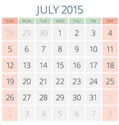 Calendar 2015 July design template vector