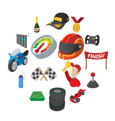 car racing cartoon icons set vector image