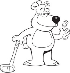 Cartoon bear leaning on a golf club vector image