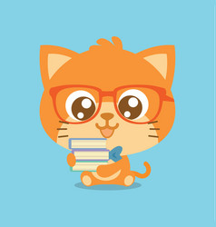 Character cat with book cartoon vector