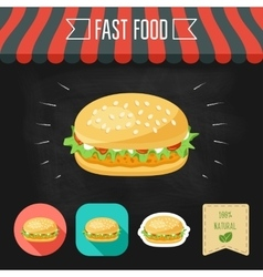 Chicken burger icon on a chalkboard Set of icons vector