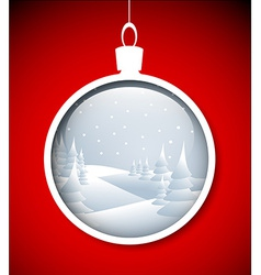 Christmas bauble with snowy landscape vector image