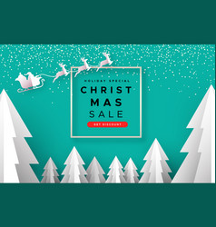 Christmas sale template papercut holiday forest vector