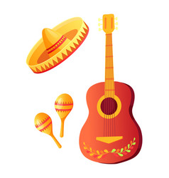 cinco de mayo acoustic guitar and sombrero hat vector image