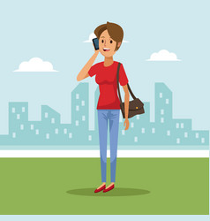 City landscape background with woman in short vector