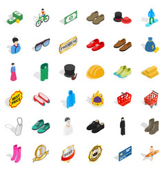 clothes icons set isometric style vector image