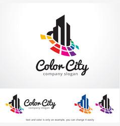Color city logo template design vector