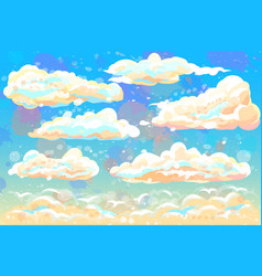 color hand-drawn image clouds and blue sky vector image