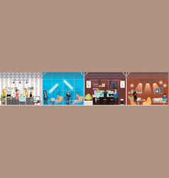 coworking space with working people concept vector image