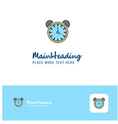 creative alarm clock logo design flat color logo vector image