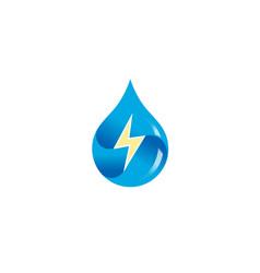 Creative blue drop thunder logo vector