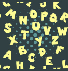 cute cartoon alphabetic letters seamless pattern vector image