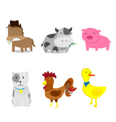 cute farm animals set cartoon vector image