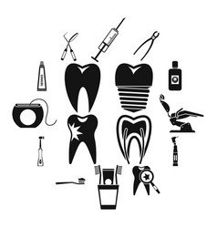 dental care icons set simple style vector image