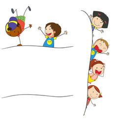 Doodle children on blank template vector