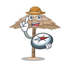 explorer beach shelter under the umbrella cartoon vector image