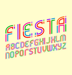 fiesta alphabet colorful festive letters font vector image