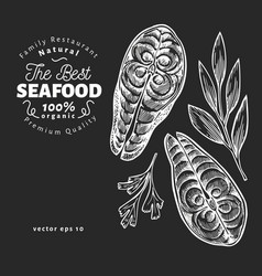 Fish steaks hand drawn seafood on chalk board vector