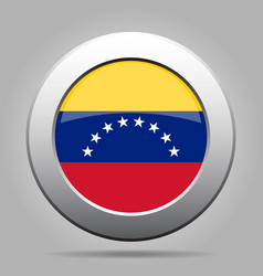 flag of venezuela shiny metal gray round button vector image
