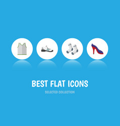 Flat icon garment set of sneakers foot textile vector