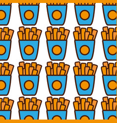 Fries french fast food background vector