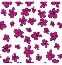 Fuchsia black and white flowers repeat pattern vector
