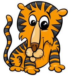 funny tiger animal character cartoon vector image
