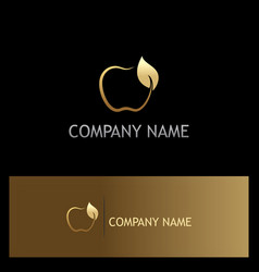 Gold apple fruit organic logo vector