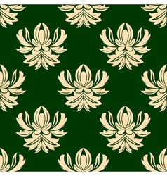 Green and beige seamless arabesque pattern vector