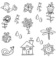 Hand draw object spring doodles vector