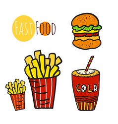 Hand drawn fast food set doodle street food fries vector