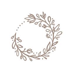 hand drawn flower wreath logo floral vector image