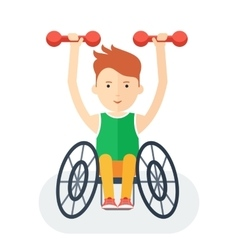 Handicapped athlete with dumbbells vector