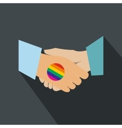 Handshake gay rainbow flat icon vector image