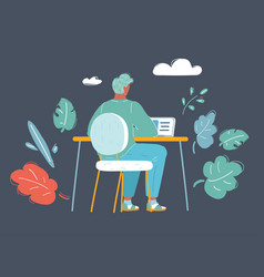 handsome man is working at his laptop vector image