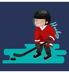 Happy Boy playing ice hockey kids sport children vector